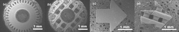 6 pav. Pilnaviduriai ir mikroporėti įvairių formų mikrodariniai iš PLA.