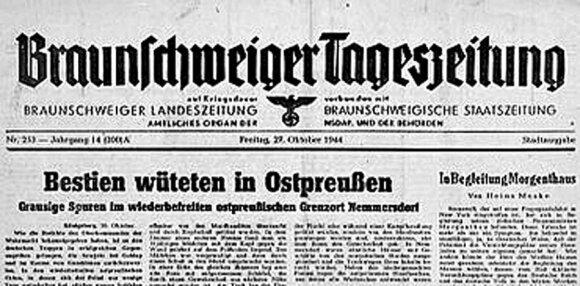 """""""Bestijos siautėja Rytų Prūsijoje"""". """"Braunschweiger Tageszeitung"""" laikraščio antraštė apie sovietų nusikaltimus Rytų Prūsijoje. 1944 m."""