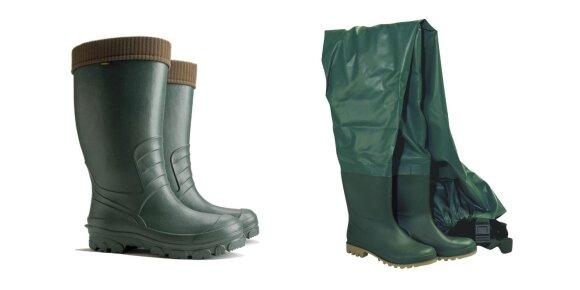 Iš EVA medžiagos bagaminti botai ir guminiai botai, integruoti į PVC bridkelnes