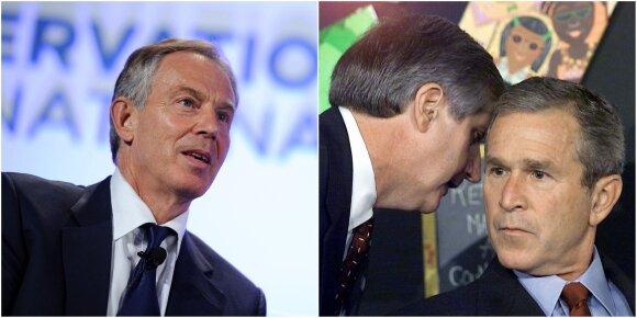 Tonis Bleiras (kairėje) ir Džordžas V. Bušas (dešinėje)