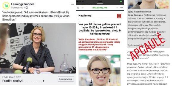 Įvairūs sukčių interneto puslapiai, skleidę netikrą informaciją V. Kurpienės vardu