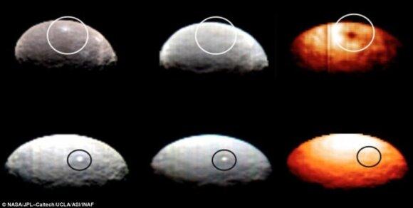 Viršutiniame triptike - darinio 1 vaizdas regimųjų ir infraraudonųjų spindulių diapazone, o apačioje - darinio 5