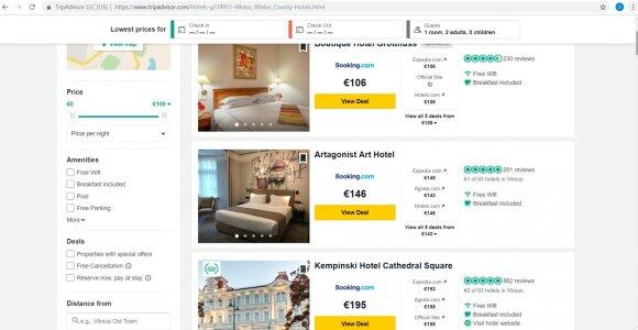 """Viešbutis Vilniuje šventes pasitiko """"TripAdvisor"""" lankytojų simpatijų viršūnėje"""