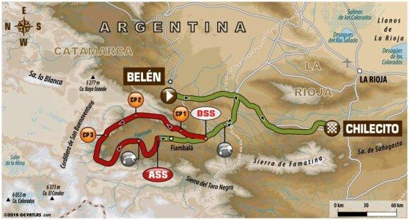 Vienuoliktojo Dakaro ralio etapo maršrutas