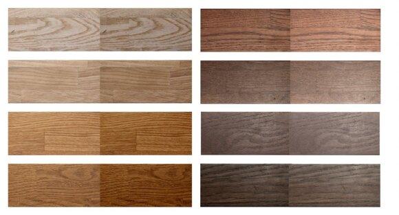 Šviesios medienos spalva tamsėja   ir                                   Tamsios medienos spalva šviesėja  (Interjero ABC nuotr.)