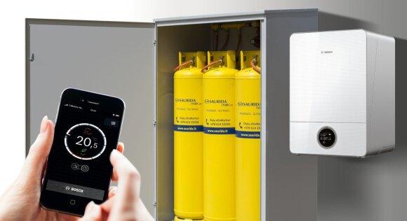 Dujinio šildymo sistema reguliuojama mobiliaja programėle