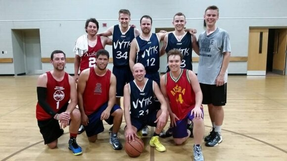 Geelong Vytis make Northern American debut during their warm up match. Erikas Kamaitis, Peter Fisher, Gintas Dirse, Peter Stauskas, Darius Saplys, Alex Topper, Edis Obeliunas and Matas Jaglowitz.