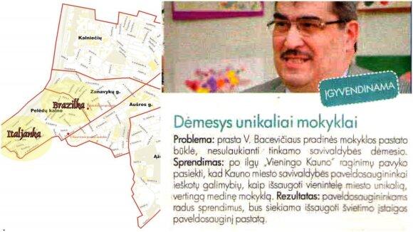 Žaliakalnio žemėlapis, mokyklos pažymėtos raudonais taškais, lankstinuko nuotrauka