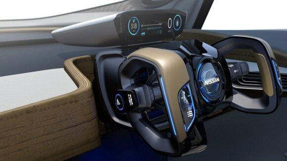"""Koncepcinio """"Nissan IDS"""" vairas pasislepia įsijungus autopilotui"""