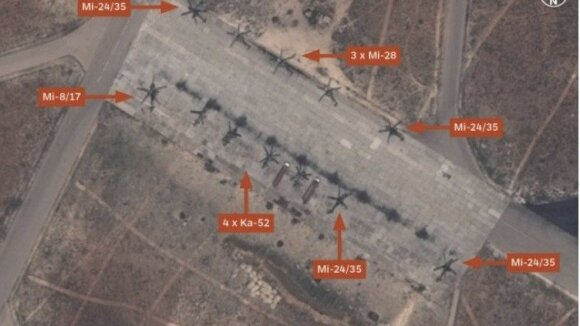 Rusijos sraigtasparniai Al Šairato oro pajėgų bazėje 2016 metais