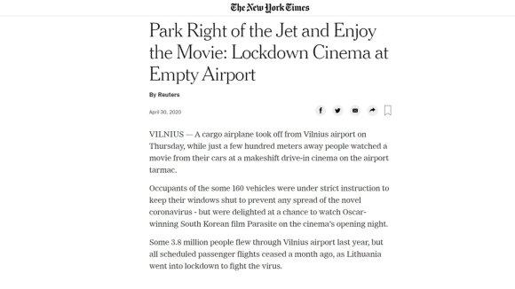 Didžiulis pasaulio žiniasklaidos dėmesys projektui Aerokinas