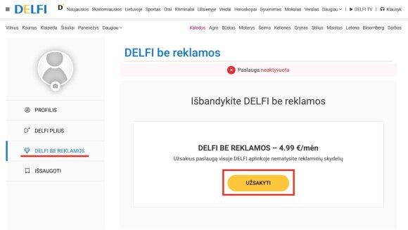 Kaip užsiprenumeruoti DELFI be reklamos?