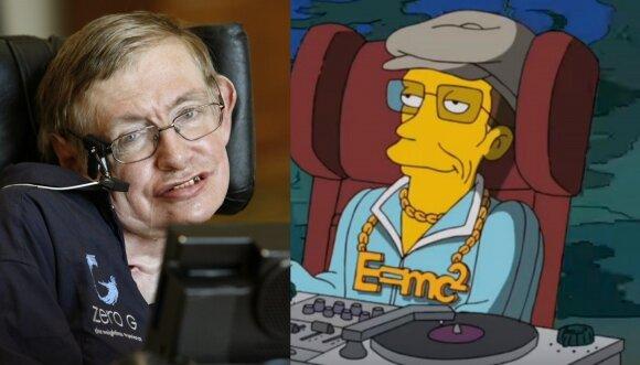 """Stephenas Hawkingas ir jo personažas seriale """"Simpsonai"""""""
