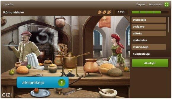 """Kuriamas kompiuterinis žaidimas """"Barbora Radvilaitė. Kalbos turtai"""" (Lietuvių kalbos institutas, UAB """"Dizi""""). Užduotis """"Rūmų virtuvė"""""""