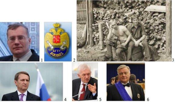 """Profesionalus separatizmo postsovietinėje erdvėje kurstytojas profesorius S. Lebedevas (1), Baltijos valstybinio technikos universiteto """"Vojenmech"""" emblema (2) ir pagrindinis žmonijos galvos skausmas V. Putinas su būsimu FSB generolu A. Grigorjevu jaunyst"""