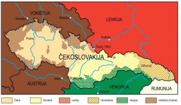 Äekoslovakijos gyventojų tautinÄ sudÄtis iki 1938 m.,eidyklos âBriedisâ iliustracija