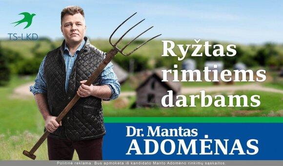 Manto Adomėno reklama