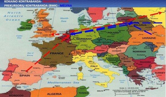 Agurkinių grupuotės narkotikų kontrabandos keliai: P. Amerika -Ispanija - Olandija - Lietuva. Iš čia šalies narkotikai keliaudavo į Rusiją