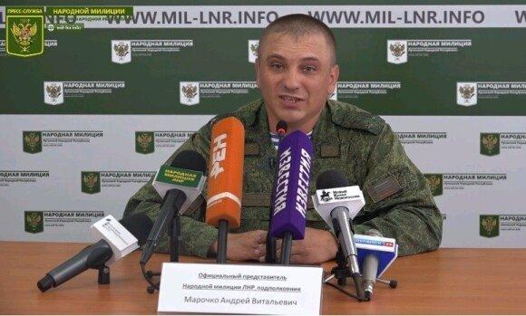 """Apsišaukėliškos prorusiškų separatistų kontroliuojamos """"Luhankso liaudies respublikos"""" atstovas, papulkininkis Andrejus Maročko"""