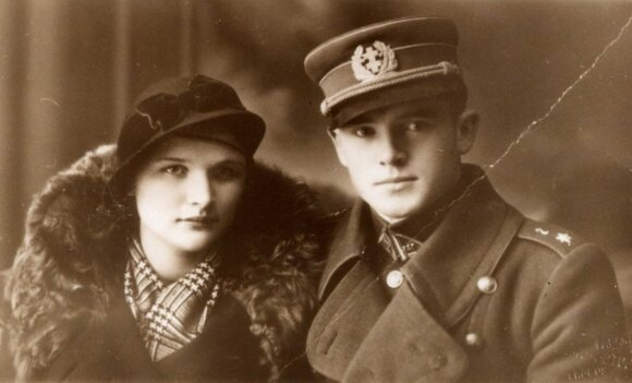 Captain Jonas Noreika - Genera Vėtra with his future wife c. 1936, Photo LGGRTC