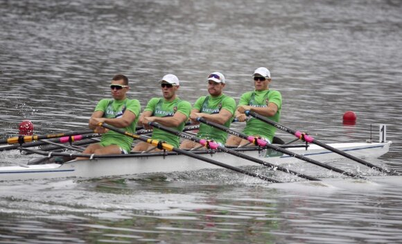 Lithuanian team at quadruple sculls event