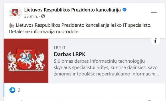Prezidentūra ieško IT specialisto