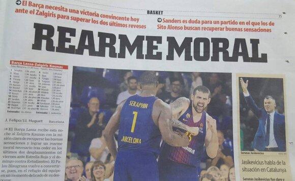 """Publikacija apie artėjančias rungtynes Barselonos """"Mundo Deportivo"""" laikraštyje"""