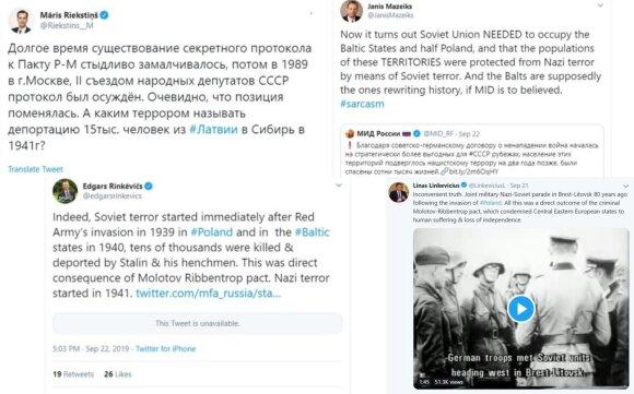Baltijos šalių atstovų reakcijos į Rusijos URM bandymus pateisinti Molotovo-Ribentropo paktą