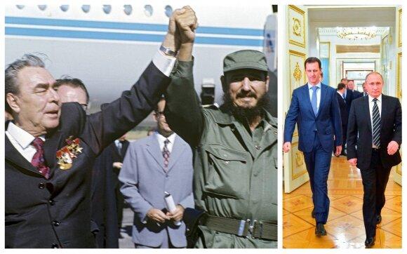 Leonidas Brežnevas su Fideliu Kastro ir Vladimiras Putinas Su Basharu al Assadu