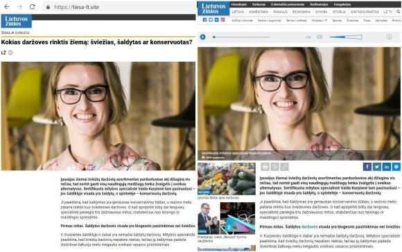"""Kairėje – """"trolių"""" sukurta """"Lietuvos žinių"""" svetainės imitacija, dešinėje – tikroji svetainė"""