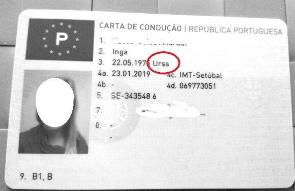 Lietuvei išduotame portugališkame vairuotojo pažymėjime gimimo šalimi nurodyta Sovietų Sąjunga