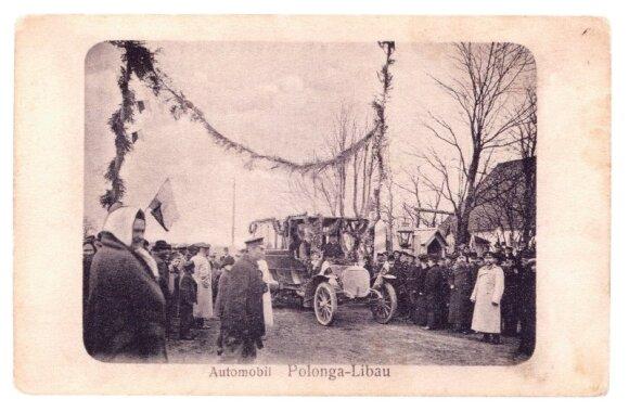 """Maršruto Palanga-Liepoja iškilmingas atidarymas. 1908 metai. Nuotrauka iš knygos Margarita Matulytė """"Senoji Palanga"""", 2008 m., Vilnius"""