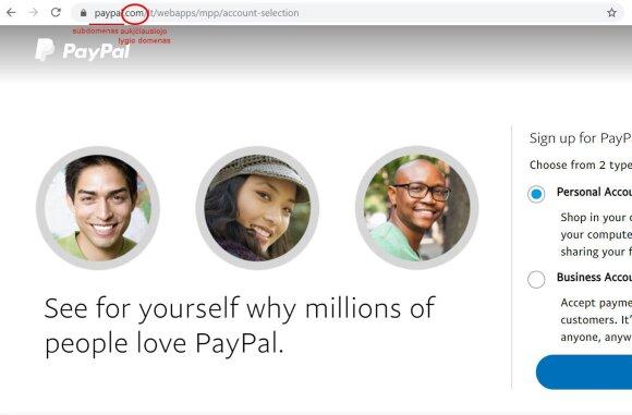 """Tikra """"Paypal"""" svetainė"""