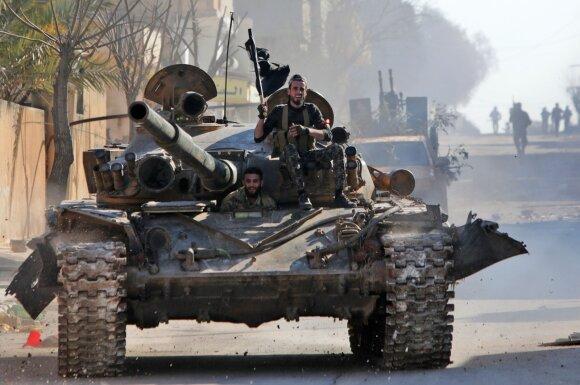 Susirėmimai Sirijos Idlibo provincijoje tarp Turkijos remiamų sukilėlių ir Rusijos remiamų Assado pajėgų