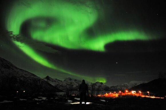 Šiaurės pašvaistė ties Tromso, Norvegija