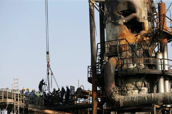 Abkaiko naftos perdirbimo įmonė po raketų atakos