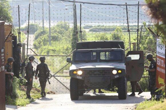 Pietų Korėjos kariai prie pasienio ruožo