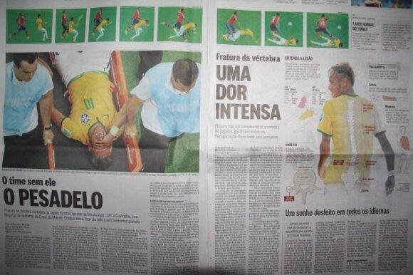 Brazilijos laikraščiai Neymarą išnarstė po kaulelį tiesiogine to žodžio prasme
