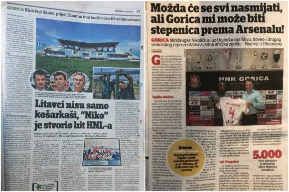 """Kroatijos dienraščiai dažnai rašo apie """"Gorica"""" klubą ir jo vadovą Mindaugą Nikoličių"""