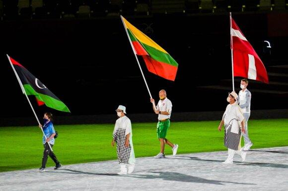 Justinas Kinderis Tokijo olimpinių žaidynių uždarymo ceremonijoje