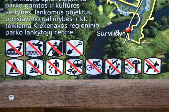 Regioniniame parke galiojantys draudimai