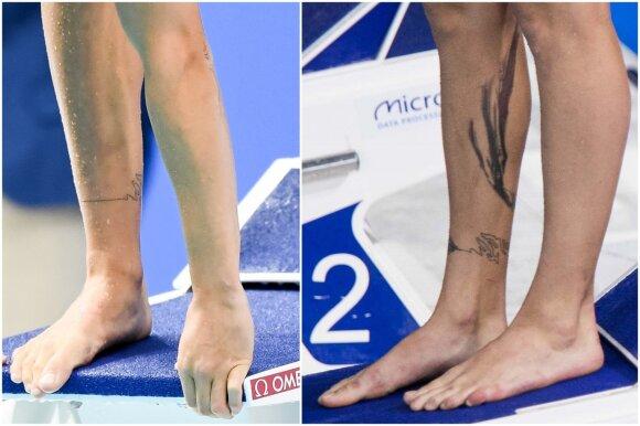 Rūtos Meilutytės tatuiruotės prieš metus (kairėje) ir dabar
