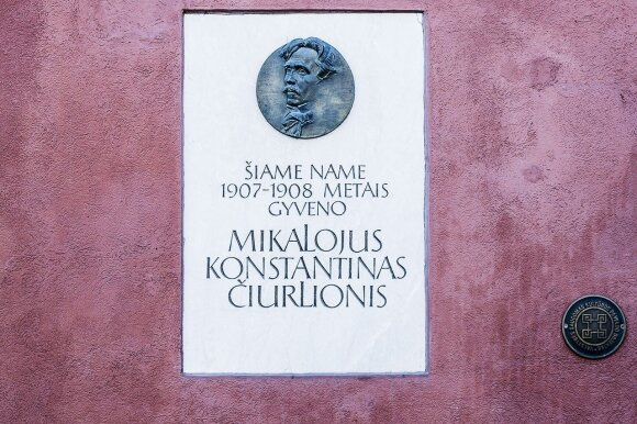 Plaque remembering Čiurlionis outside the house he lived in during the winter of 1907 in Vilnius   © Ludo Segers @ The Lithuania Tribune