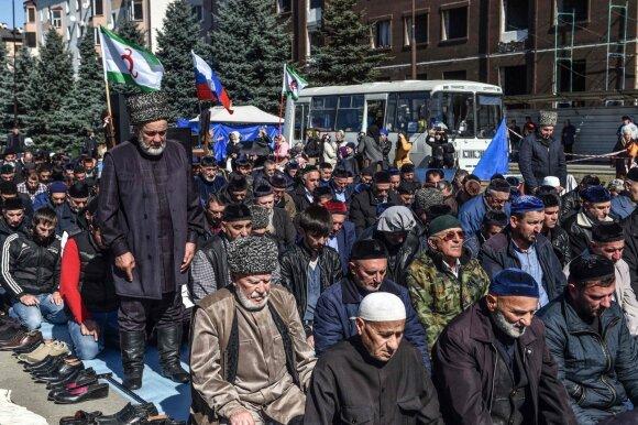 Ingušai protestuoja prieš žemės apsikeitimą su Čečėnija