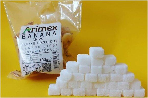 Cukraus kiekis kubeliais maisto produktuose