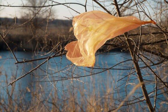 Plastikinis maišelis gamtoje