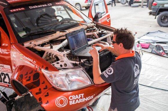 Antanas Juknevičius prie savo ralio automobilio