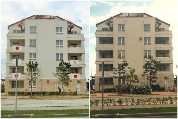Namas, kuriame gyveno Lietuvos olimpiečiai, prieš ketverius metus ir dabar