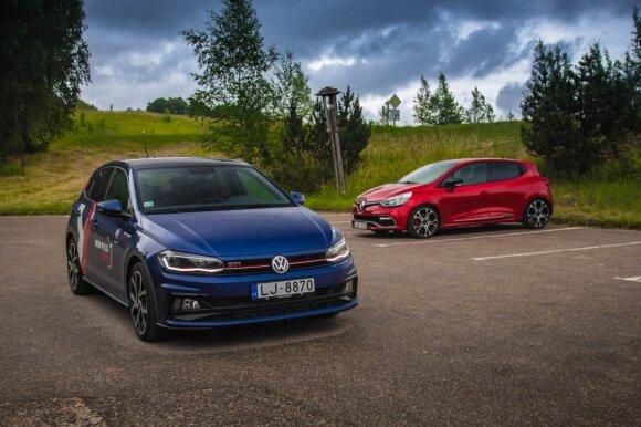"""Renault Clio R.S. Trophy"" prieš ""Volkswagen Polo GTI"". Aivaro Grigelevičiaus nuotr."