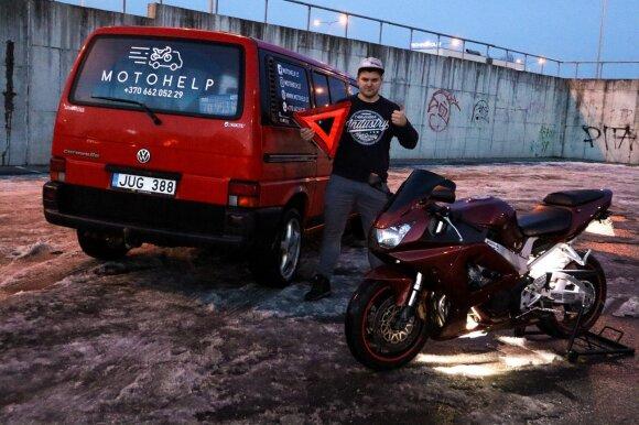 Motociklininkus kamuojančią problemą pastebėjęs vyras pradėjo nuosavą verslą. Motohelp.lt nuotr.